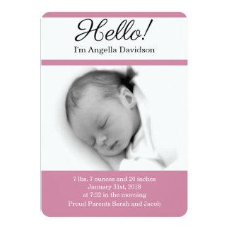 HOLA invitaciones del nacimiento de la niña Invitación 12,7 X 17,8 Cm