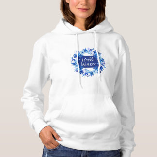 Hola la camiseta de las mujeres azules de la flor