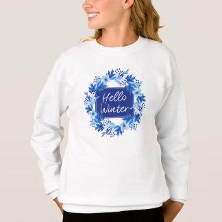 Hola la camiseta del florista azul del invierno