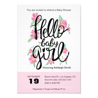 Hola la fiesta de bienvenida al bebé floral invitación 12,7 x 17,8 cm