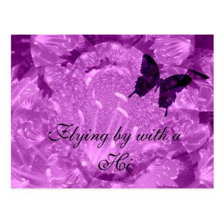 Hola la púrpura se va volando la postal
