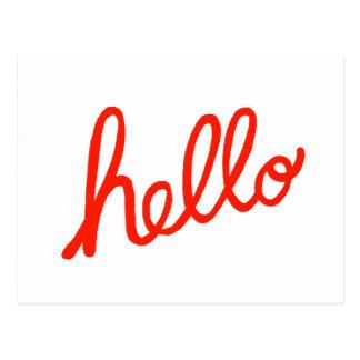 Hola letras escritas mano de la mano de la postal