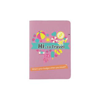 Hola-Lo tenedor del pasaporte del viaje - rosa del Portapasaportes