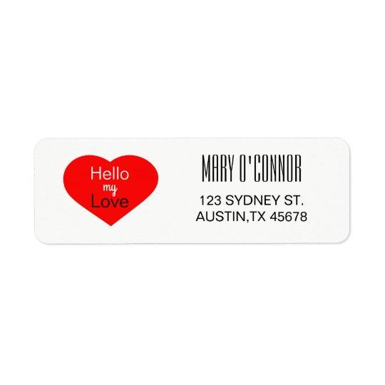 Hola mi etiqueta del remite del amor