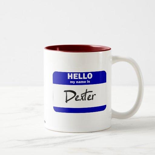 Hola mi nombre es Dexter (azul) Tazas De Café