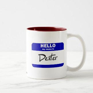 Hola mi nombre es Dexter (azul) Taza De Dos Tonos