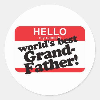 Hola mi nombre es el mejor abuelo del mundo pegatina redonda