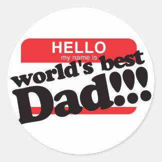 Hola mi nombre es el mejor papá del mundo pegatina redonda
