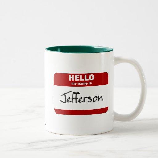 Hola mi nombre es Jefferson (rojo) Taza Dos Tonos