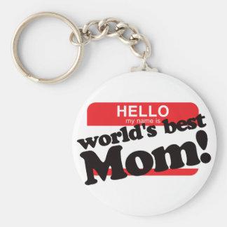 Hola mi nombre es la mejor mamá del mundo llavero redondo tipo chapa