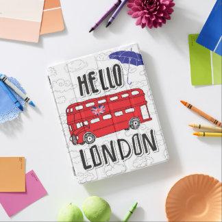 Hola muestra indicada con letras de la mano de cubierta de iPad