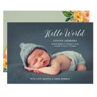 Hola mundo cubierto con nacimiento floral del bebé invitación 12,7 x 17,8 cm