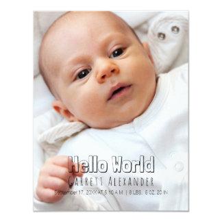 Hola nacimiento Annoucement del mundo Invitación 10,8 X 13,9 Cm