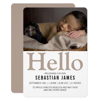 Hola nuevo de color topo del bebé personalizado invitación 12,7 x 17,8 cm