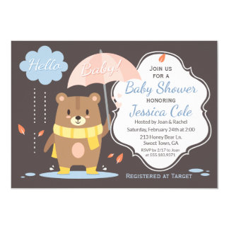 Hola oso del bebé y invitación de la fiesta de