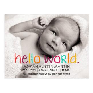 Hola postal de la invitación del nacimiento de la