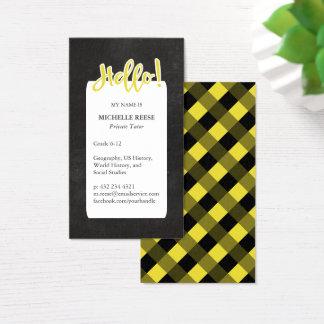 ¡Hola! Profesor particular privado amarillo y Tarjeta De Negocios