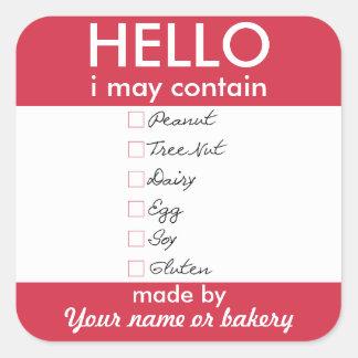 Hola puedo contener la panadería personalizada los pegatina cuadrada