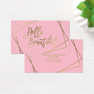 Hola rosa geométrico de la falsa escritura hermosa tarjeta de negocios
