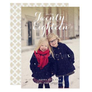 Hola tarjeta de la foto del Año Nuevo veinte