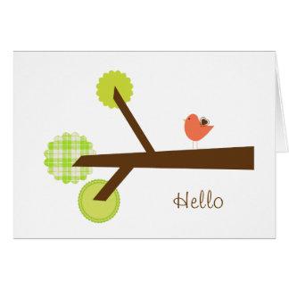 Hola tarjeta de nota