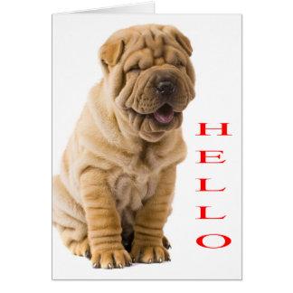 Hola tarjeta en blanco del perro de perrito de