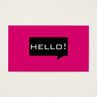 Hola tarjetas de visita estándar del rosa de la
