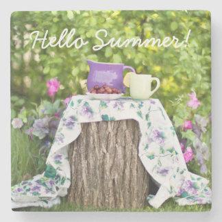 Hola té y ciruelos del verano en el jardín posavasos de piedra