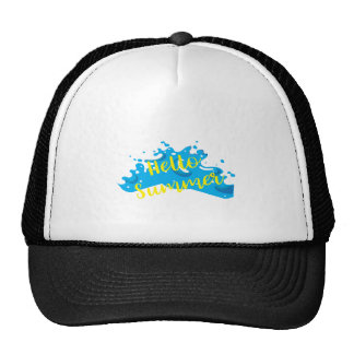 Hola verano, gráfico de las ondas, blanco fresco gorras de camionero