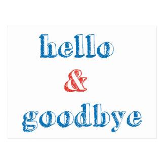 Hola y adiós diseño del texto tarjeta postal