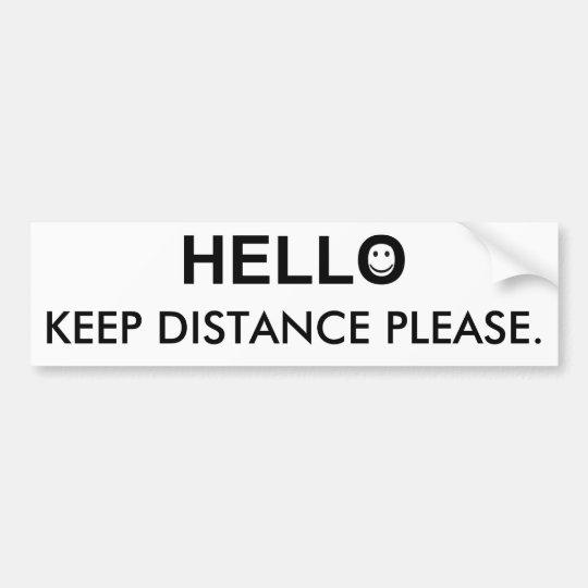 Hola y guarde la palabra de la distancia pegatina para coche
