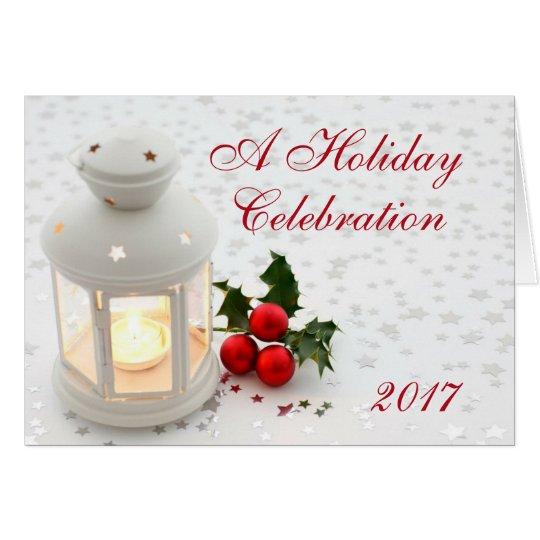Holiday Christmas Lantern Party Invitation Company Tarjeta Pequeña