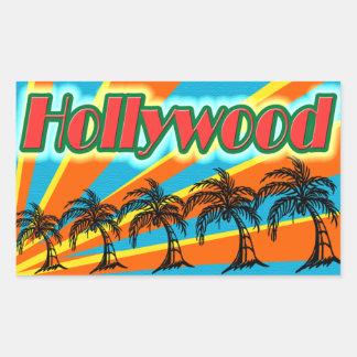 Hollywood 5 pegatinas de las palmeras pegatina rectangular