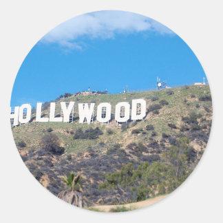 Hollywood Hills Pegatina Redonda
