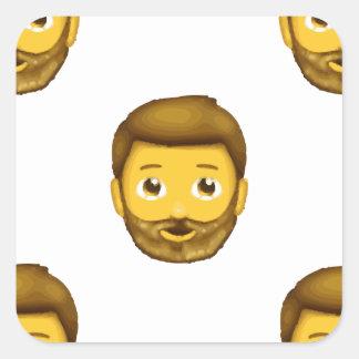hombre barbudo del emoji pegatina cuadrada
