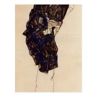 Hombre Bencind de Egon Schiele- abajo profundament Postal