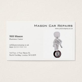 Hombre blanco, tarjeta de visita del mecánico