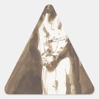 Hombre colgado pegatina triangular