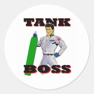 Hombre de Boss del tanque Pegatina Redonda