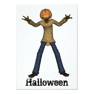 Hombre de Halloween con la invitación de la cabeza