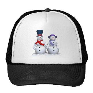 Hombre de la nieve y mujer de la nieve gorro de camionero
