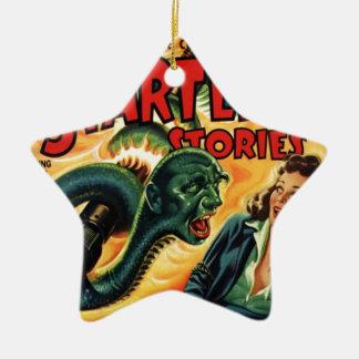 Hombre de la serpiente adorno navideño de cerámica en forma de estrella
