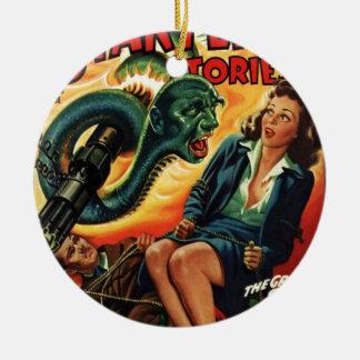 Hombre de la serpiente adorno navideño redondo de cerámica