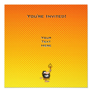 Hombre de las cavernas amarillo-naranja invitación 13,3 cm x 13,3cm