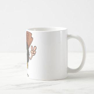Hombre de las cavernas que gesticula el signo de taza de café