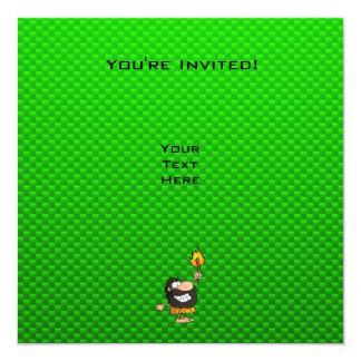 Hombre de las cavernas; Verde Invitación 13,3 Cm X 13,3cm