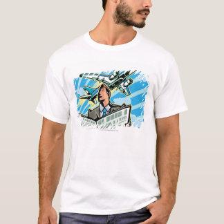 Hombre de negocios con el periódico y el aeroplano camiseta