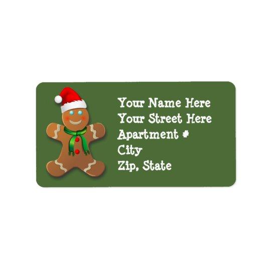 Hombre de pan de jengibre adaptable etiquetas de dirección