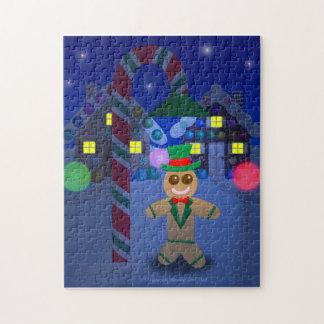 Hombre de pan de jengibre debajo de la lámpara del puzzle