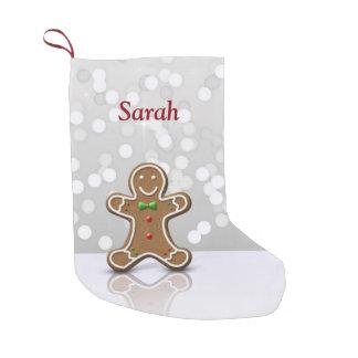Hombre de pan de jengibre del encanto - calcetín de navidad pequeño